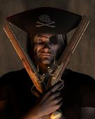 stock photo of crossed pistols  - Dark atmospheric portrait of a pirate captain with hat with skull and cross bones and eyepatch holding pistols - JPG