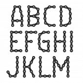 stock photo of chain  - Bicycle chain alphabet - JPG
