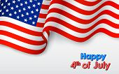 picture of memorial  - illustration of wavy American Flag for Independence Day - JPG