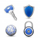 stock photo of combination lock  - Security and protection symbols - JPG