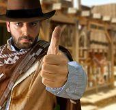 picture of gunslinger  - Bad gunman in the old wild west - JPG