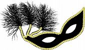 image of mardi gras mask  - Black and gold Mardi Gras or Halloween mask - JPG