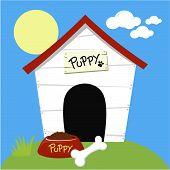 cute dog house with dog food
