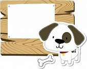 cute little baby dog wooden signboard