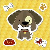 cute puppy and design elements