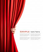 stock photo of curtain  - Background with red velvet curtain and hand - JPG