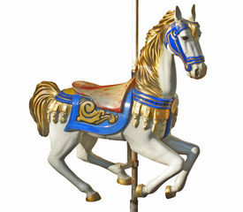 pic of carousel horse  - An isolated horse of a carousel on its tube - JPG