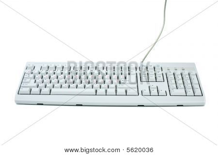 Classic White Pc Keyboard With English And Russian Symbol Sets