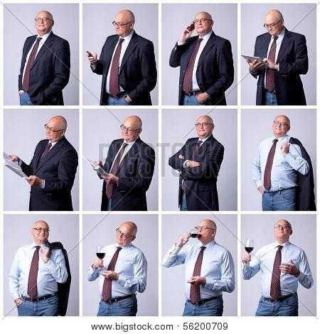 Collage Portrait Of A Successful Senior Man