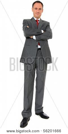 Authoritative businessman. All on white background.