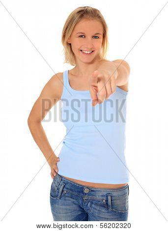 Attractive young scandinavian woman pointing with finger. All on white background.