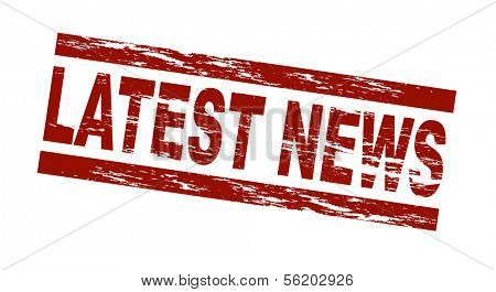 Stylized red stamp showing the term latest news. All on white background.