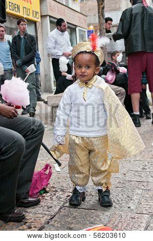 Jerusalem, Israel - March 15: Purim Carnival, Portrait Of An Unidentified Ethiopian Little Boy Dress