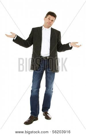 Baffled middle-aged man. All on white background.