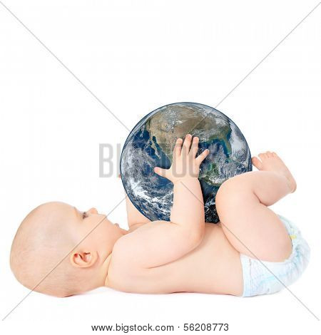 Cute european baby holding the earth in his hands. All on white background.