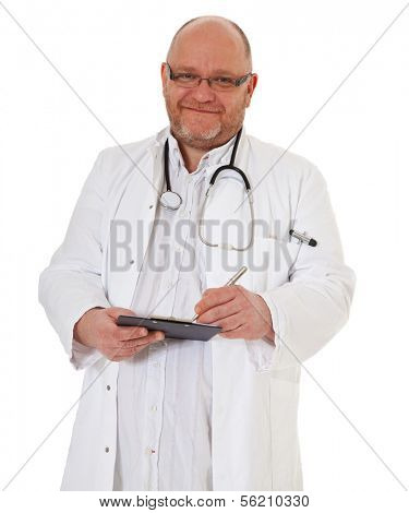 Competent doctor checking clinical record. All on white background.
