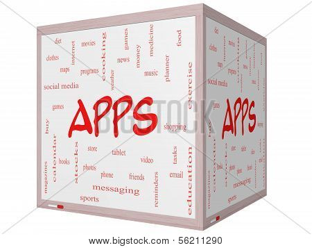 Apps Word Cloud Concept On A 3D Cube Whiteboard