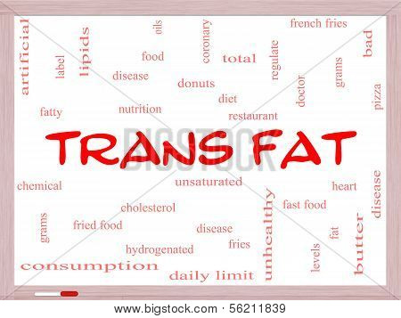 Trans Fat Word Cloud Concept On A Whiteboard