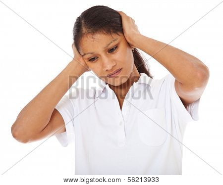 Attractive indian girl suffers from headache. All on white background.