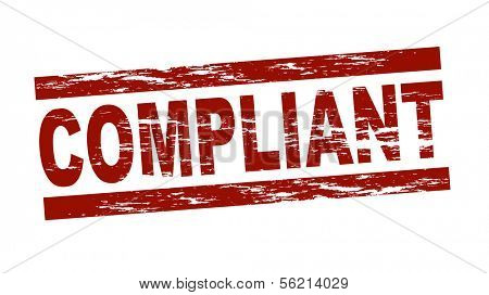 Stylized red stamp showing the term compliant. All on white background.