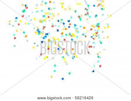 Confetti falling from top. All on white background.