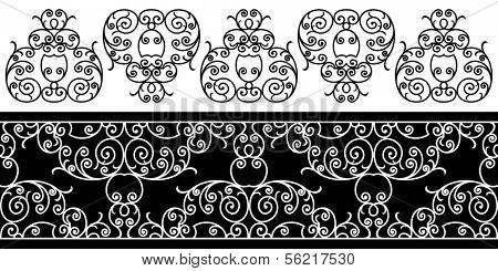wrought iron elements - repeating left to right (vector)