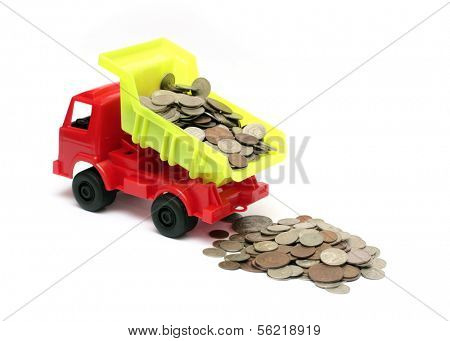 toy lorry with coins - business concept