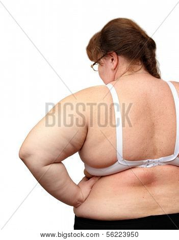 overweight women from behind isolated on white