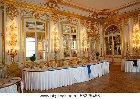 banquet table in dining-hall Pushkin palace Russia