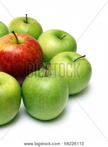 different concepts - green apples surround red apple