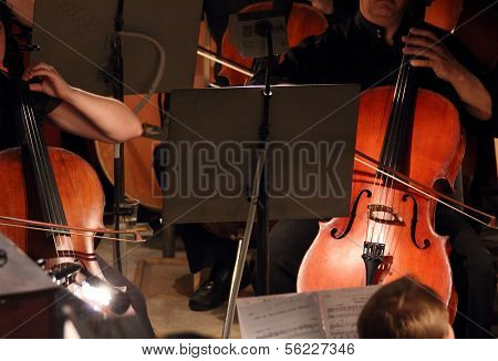 close-up view on two violoncello in orchestra