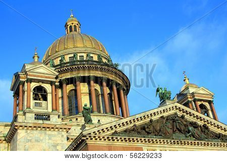 fragment of isaakiy cathedral dome in Saint-petersburg, Russia