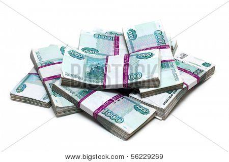 million rubles - heap of bills in packs of Russian