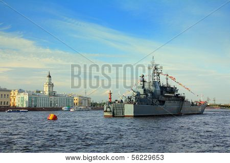 SAINT-PETERSBURG, RUSSIA - JULY 29: military ship on Neva River - day of the Navy on july 29, 2012 in in Saint-Petersburg, Russia