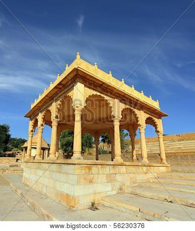 old jain cenotaph in jaisalmer rajasthan india