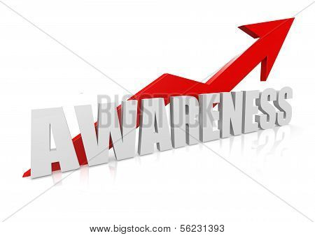 Awareness with upward red arrow