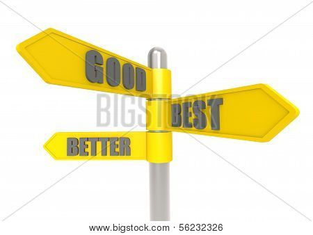 Good better best sign post