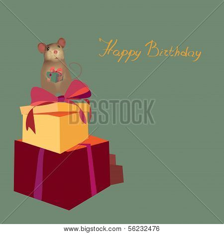 Happy Birthday Card with Present boxes and mouse holding gift