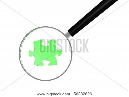 Jigsaw puzzle and magnifying glass