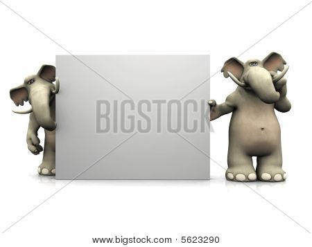 Two Cartoon Elephants With Big Blank Sign.