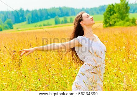 Young Woman Enjoying The Freedom