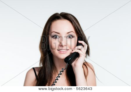 Surprised Girl Speaking On Phone