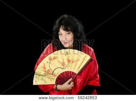 Woman With Fan Looks Askance