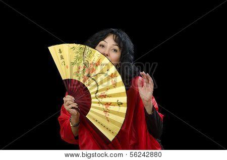 Actress Fanning Herself A Fan