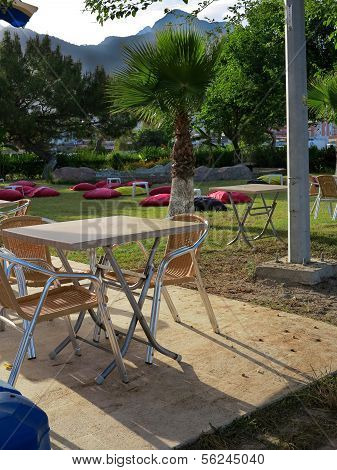 Summer Cafe On Catering Beach On The Background Of The Taurus Mountains