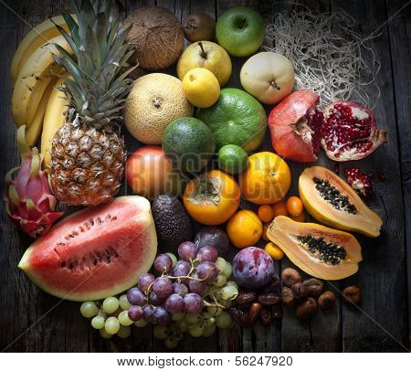Exotic fruits variety still life