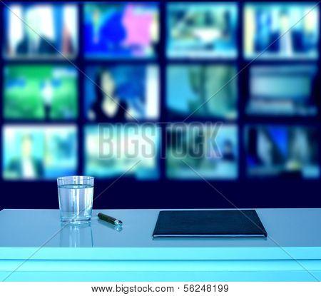 Broadcasting television empty studio