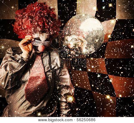 70S Dj Clown Spinning A Nightclub Turntable