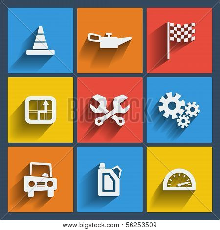 Set of 9 vector web and mobile icons in flat design.