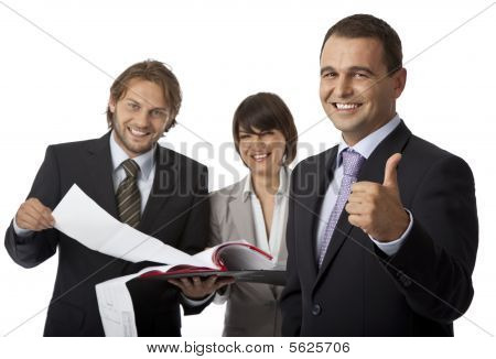 Three Businesspeople Thumb Up